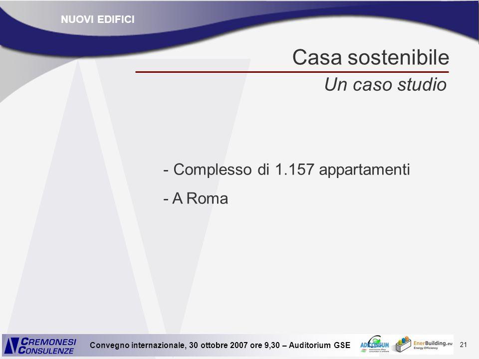 21 Convegno internazionale, 30 ottobre 2007 ore 9,30 – Auditorium GSE Casa sostenibile Un caso studio - Complesso di 1.157 appartamenti - A Roma NUOVI