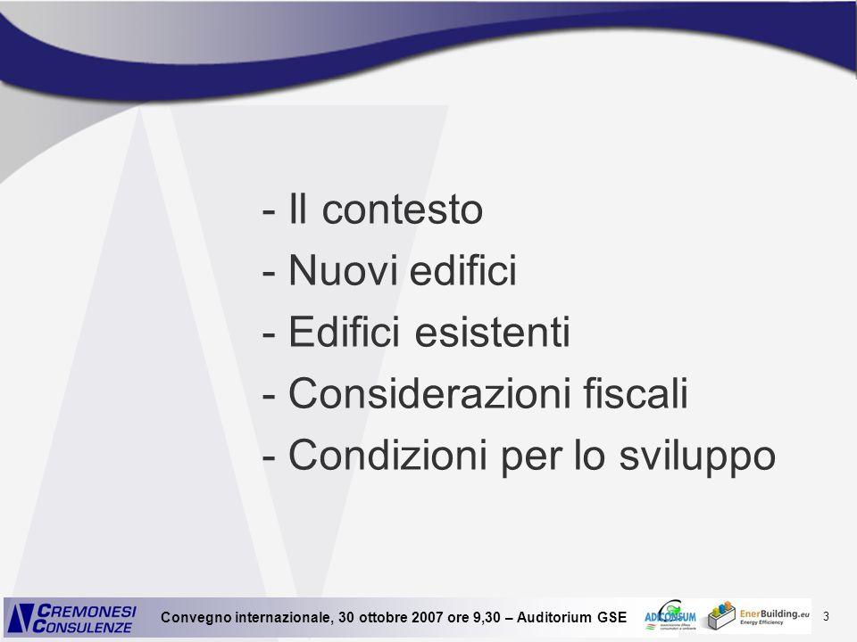3 Convegno internazionale, 30 ottobre 2007 ore 9,30 – Auditorium GSE - Il contesto - Nuovi edifici - Edifici esistenti - Considerazioni fiscali - Cond