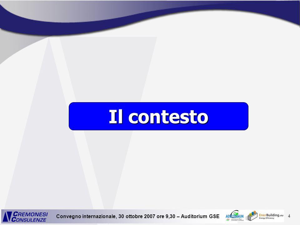35 Convegno internazionale, 30 ottobre 2007 ore 9,30 – Auditorium GSE LIMPATTO AMBIENTALE EDIFICI ESISTENTI RIQUALIFICAZIONE CONVENZIONALE