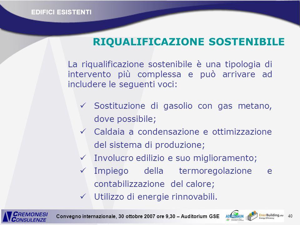 40 Convegno internazionale, 30 ottobre 2007 ore 9,30 – Auditorium GSE RIQUALIFICAZIONE SOSTENIBILE La riqualificazione sostenibile è una tipologia di
