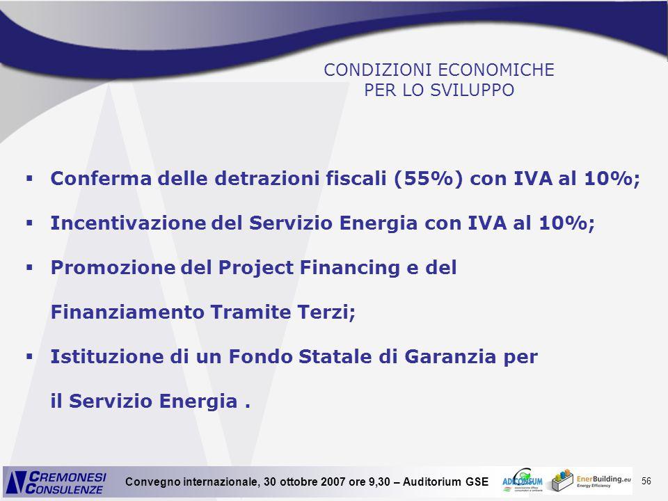 56 Convegno internazionale, 30 ottobre 2007 ore 9,30 – Auditorium GSE CONDIZIONI ECONOMICHE PER LO SVILUPPO Conferma delle detrazioni fiscali (55%) co