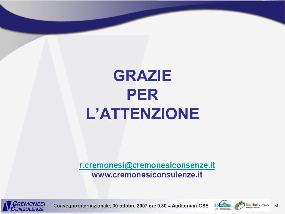 58 Convegno internazionale, 30 ottobre 2007 ore 9,30 – Auditorium GSE GRAZIE PER LATTENZIONE r.cremonesi@cremonesiconsenze.it r.cremonesi@cremonesicon