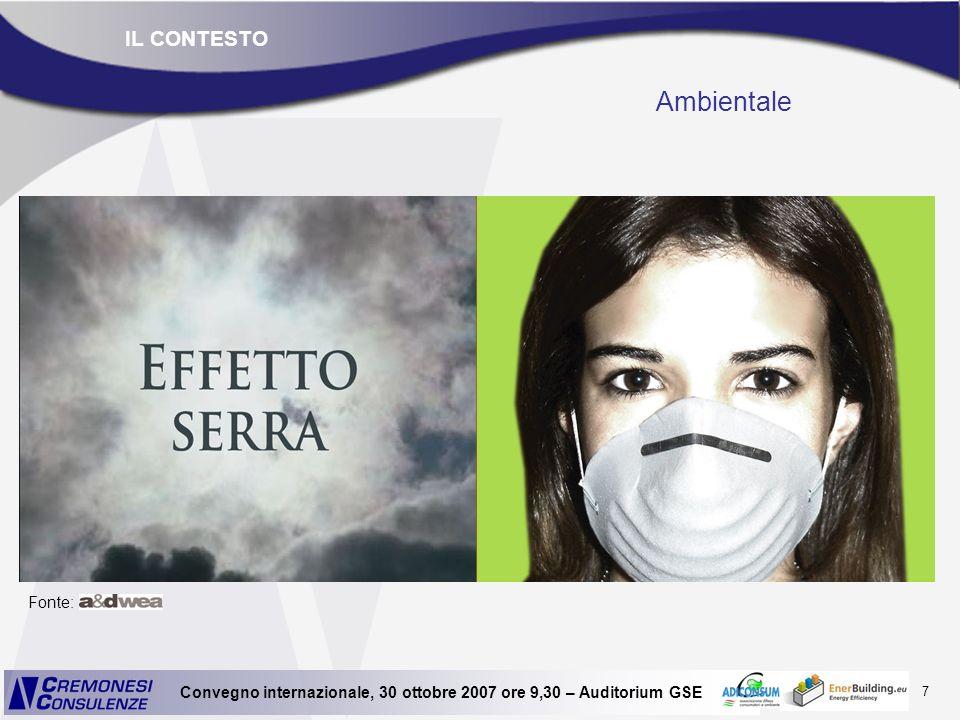 7 Convegno internazionale, 30 ottobre 2007 ore 9,30 – Auditorium GSE Ambientale Fonte: IL CONTESTO