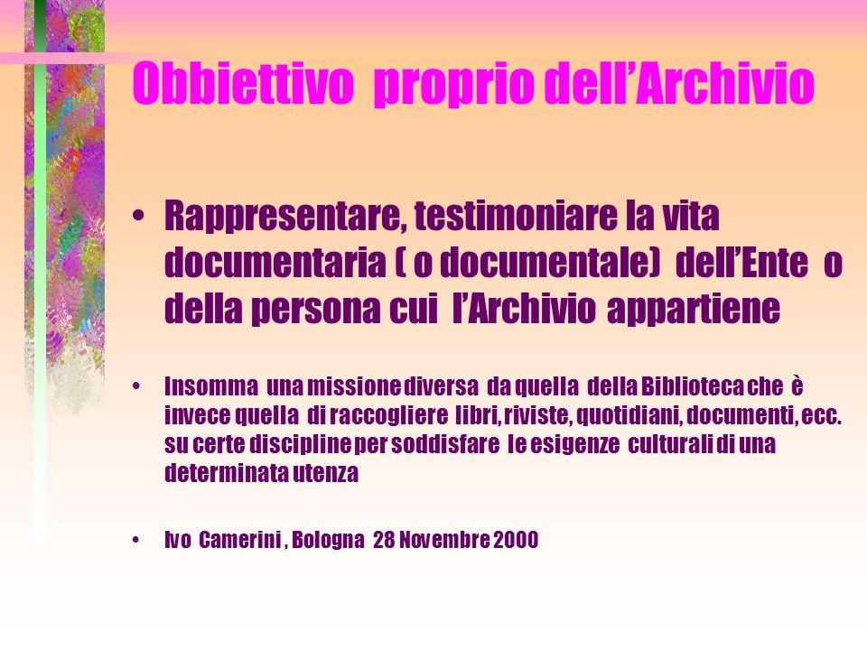 DOCUMENTO In archivistica la parola documento si riferisce a tutto quello che viene conservato in Archivio ( es.