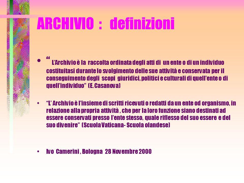 ARCHIVIO : definizione Insieme di documenti raccolti o prodotti da un ente o una persona nell esercizio delle sue attività Ivo Camerini, Bologna 28 Novembre 2000