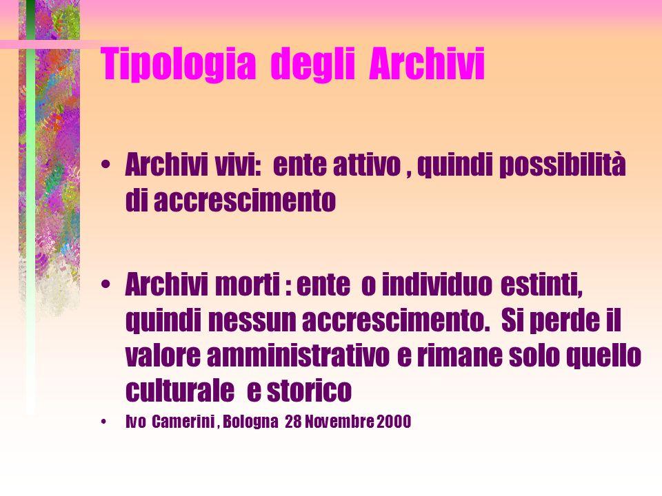 Tipologia degli Archivi Archivi civili Archivi Ecclesiastici Ivo Camerini, Bologna 28 Novembre 2000