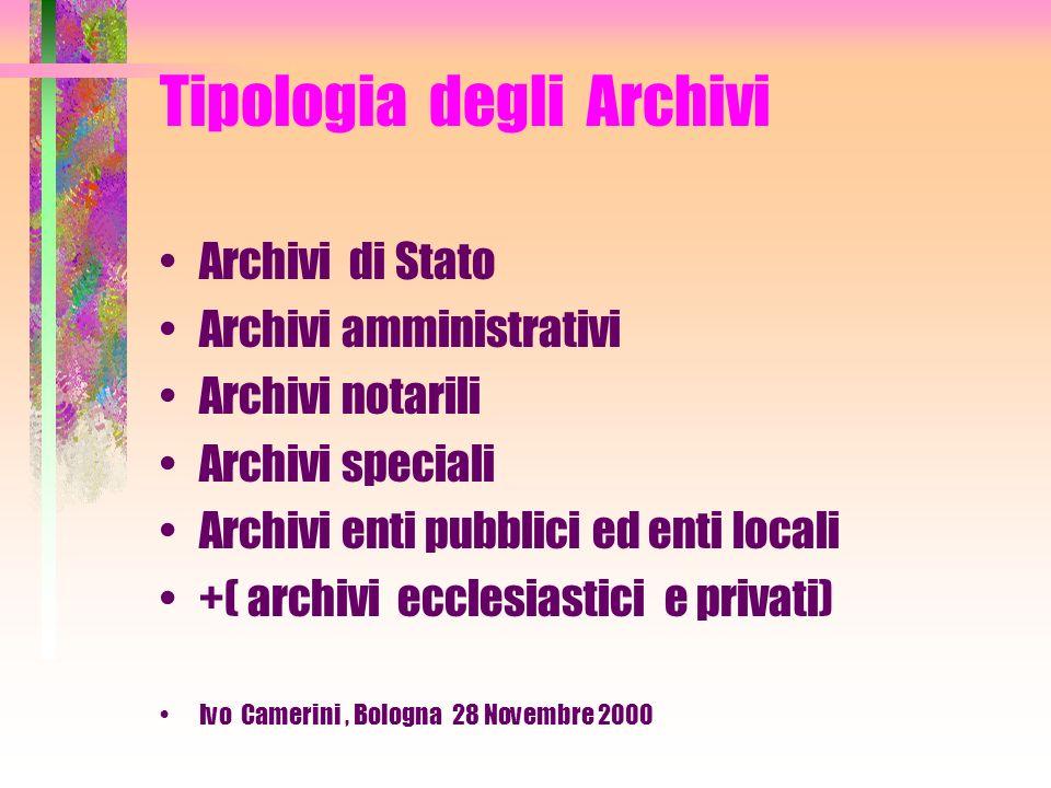 Tipologia degli Archivi Archivi vivi: ente attivo, quindi possibilità di accrescimento Archivi morti : ente o individuo estinti, quindi nessun accrescimento.