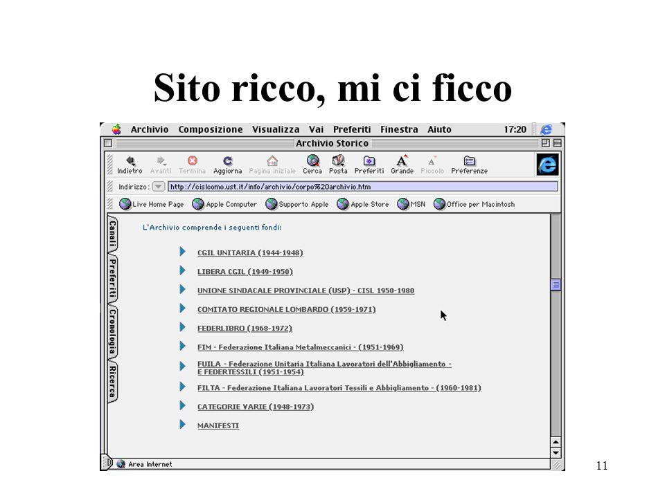 Enrico Giacinto10 Internet ed archivi storici sindacali e del lavoro Varietà di situazioni Collegamenti che non collegano Informazioni di carattere ge