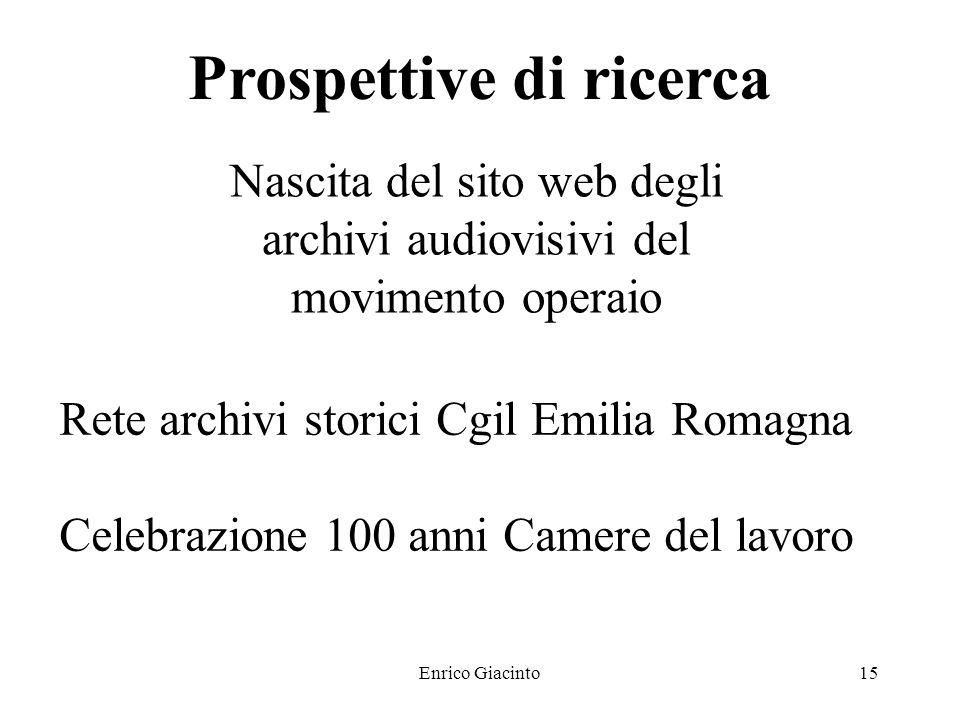 Enrico Giacinto14 Prospettive di ricerca Numerose iniziative nei prossimi mesi Progetto Dace Progetto Trainet Progetto Casa archivi del lavoro Congresso internazionale di Siviglia Workshop università di Firenze