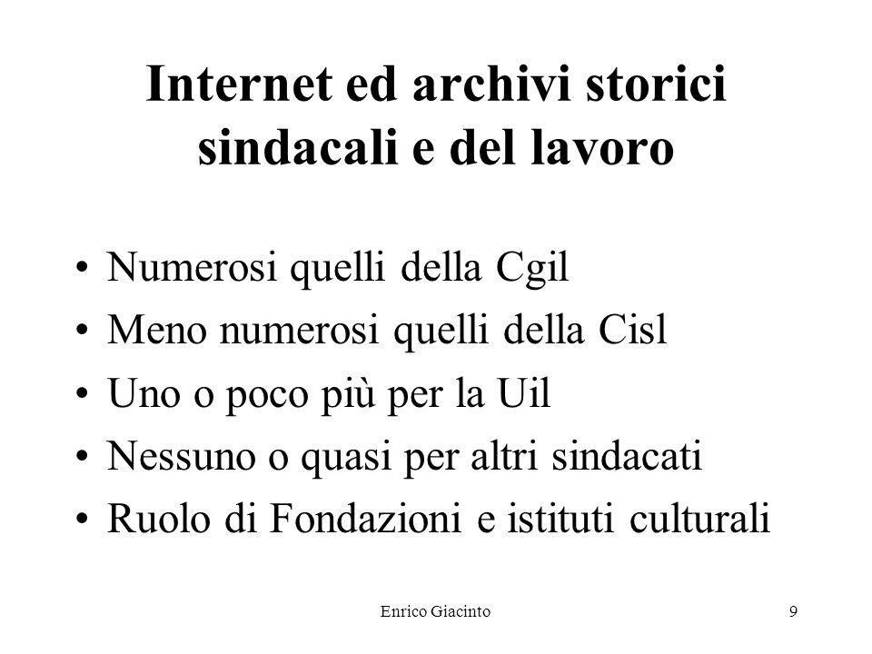 Enrico Giacinto8 Internet ed archivi storici sindacali e del lavoro Ritardo Italia rispetto a paesi anglosassoni Ritardo sindacati italiani Ritardo de