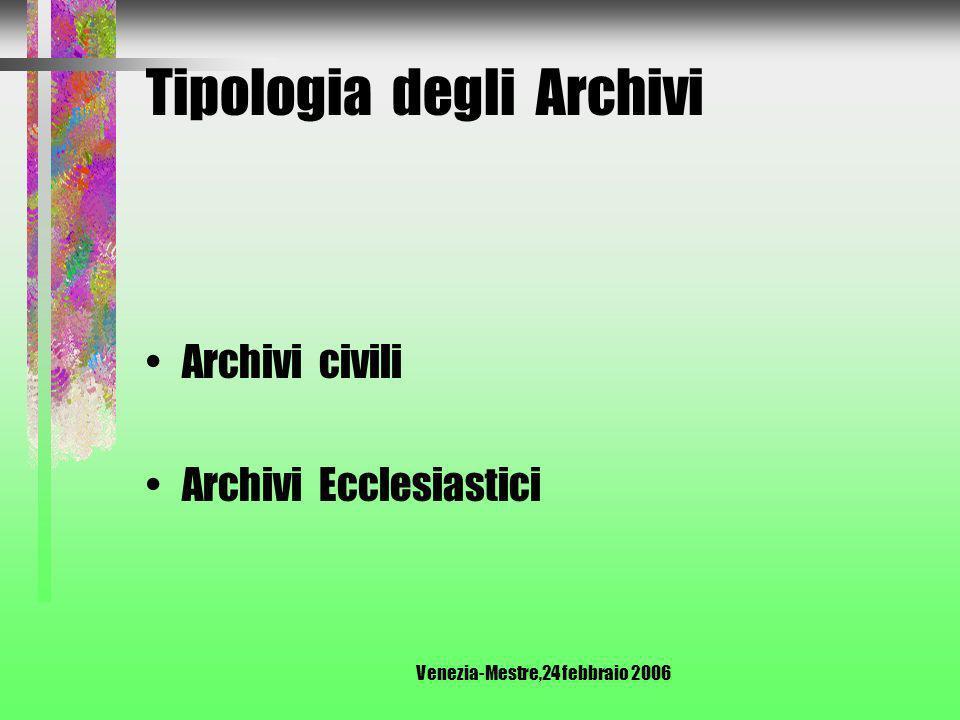 Venezia-Mestre,24 febbraio 2006 Tipologia degli Archivi Archivi pubblici Archivi privati