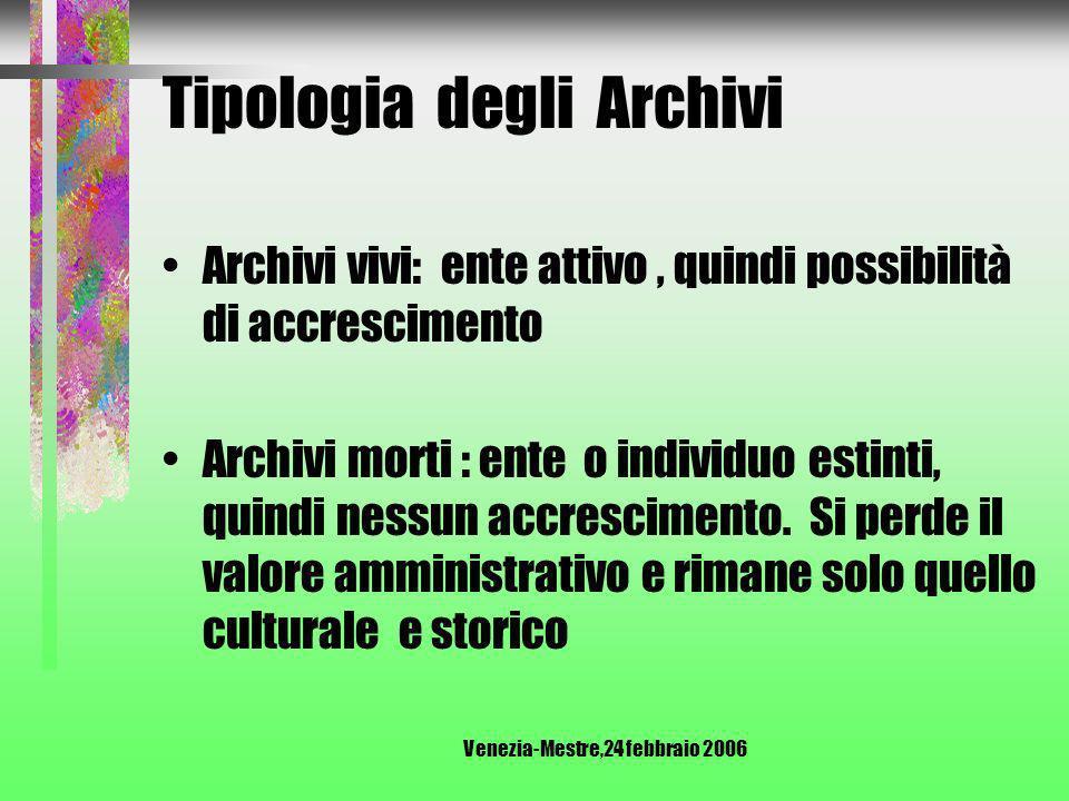 Venezia-Mestre,24 febbraio 2006 Tipologia degli Archivi Archivi civili Archivi Ecclesiastici