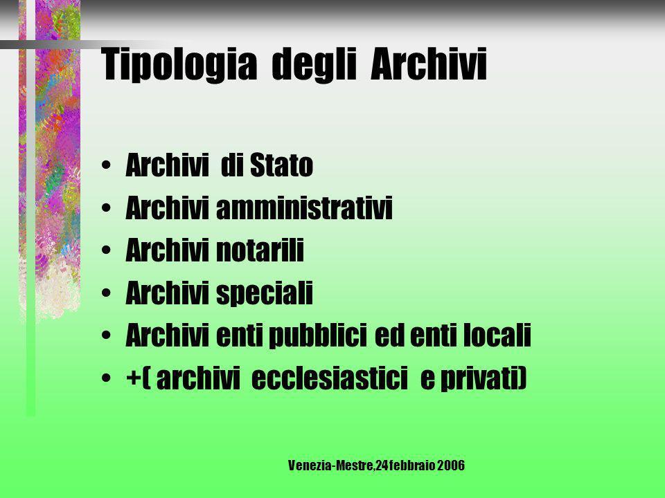 Venezia-Mestre,24 febbraio 2006 Tipologia degli Archivi Archivi vivi: ente attivo, quindi possibilità di accrescimento Archivi morti : ente o individuo estinti, quindi nessun accrescimento.