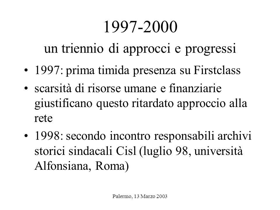 Palermo, 13 Marzo 2003 ARCHIVI STORICI SINDACALI IL CASO CISL di Ivo Camerini