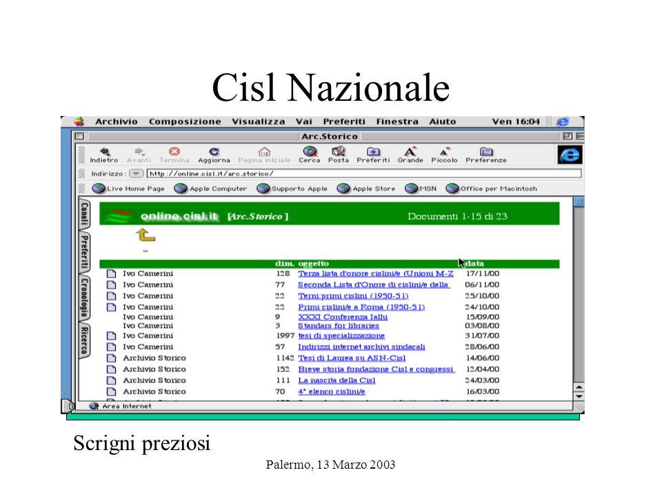 Palermo, 13 Marzo 2003 Archivi storici Cisl in Internet Archivio storico nazionale Cisl Archivio storico Cisl Como Fondazione Vera Nocentini di Torino