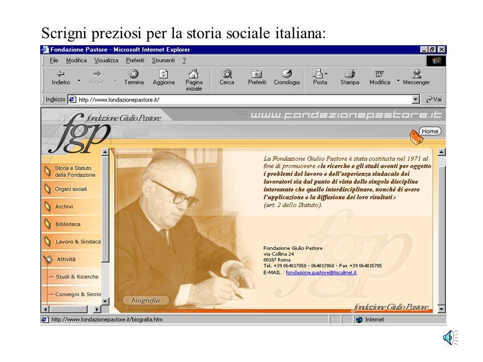 I principali siti della storiografia multimediale www.storia.unifi.it www.storiamultimediale.it Iconografia di Pastore: dove? www.fondazionepastore.it
