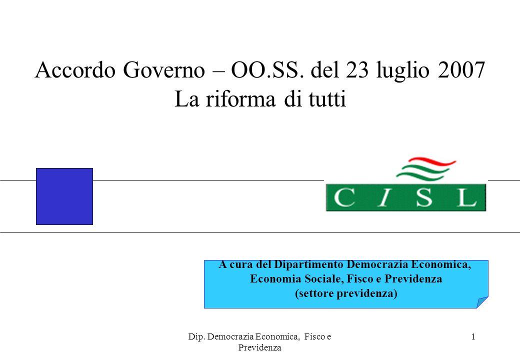 Dip. Democrazia Economica, Fisco e Previdenza 1 A cura del Dipartimento Democrazia Economica, Economia Sociale, Fisco e Previdenza (settore previdenza