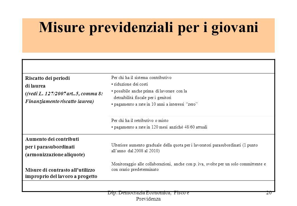 Dip. Democrazia Economica, Fisco e Previdenza 20 Misure previdenziali per i giovani Riscatto dei periodi di laurea ((vedi L. 127/2007 art..5, comma 8: