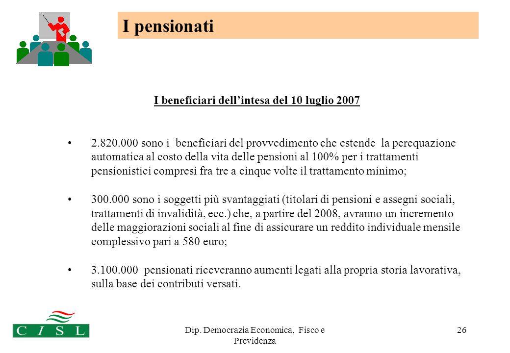 Dip. Democrazia Economica, Fisco e Previdenza 26 I beneficiari dellintesa del 10 luglio 2007 2.820.000 sono i beneficiari del provvedimento che estend