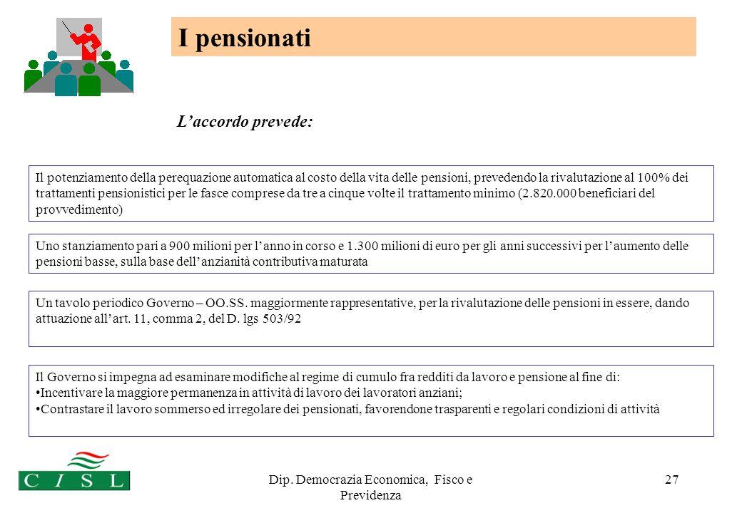 Dip. Democrazia Economica, Fisco e Previdenza 27 I pensionati Il Governo si impegna ad esaminare modifiche al regime di cumulo fra redditi da lavoro e
