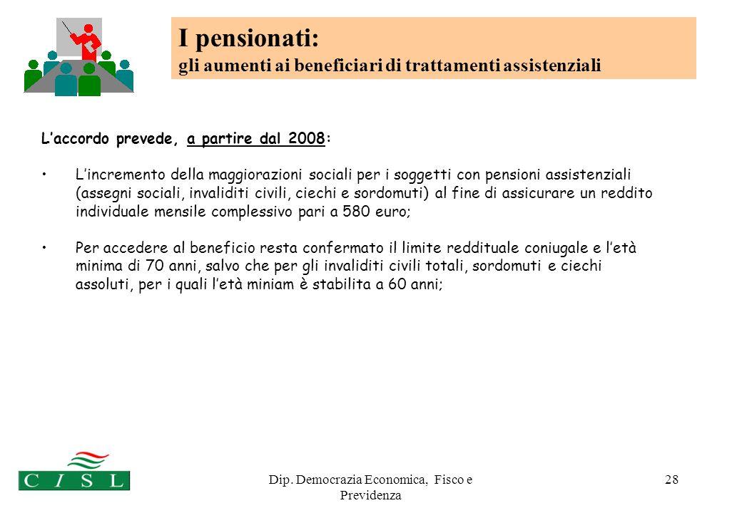 Dip. Democrazia Economica, Fisco e Previdenza 28 Laccordo prevede, a partire dal 2008: Lincremento della maggiorazioni sociali per i soggetti con pens