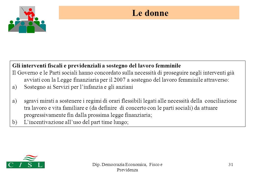 Dip. Democrazia Economica, Fisco e Previdenza 31 Gli interventi fiscali e previdenziali a sostegno del lavoro femminile Il Governo e le Parti sociali