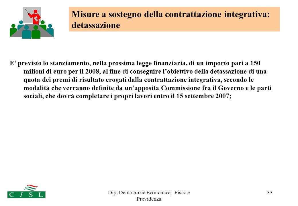 Dip. Democrazia Economica, Fisco e Previdenza 33 E previsto lo stanziamento, nella prossima legge finanziaria, di un importo pari a 150 milioni di eur