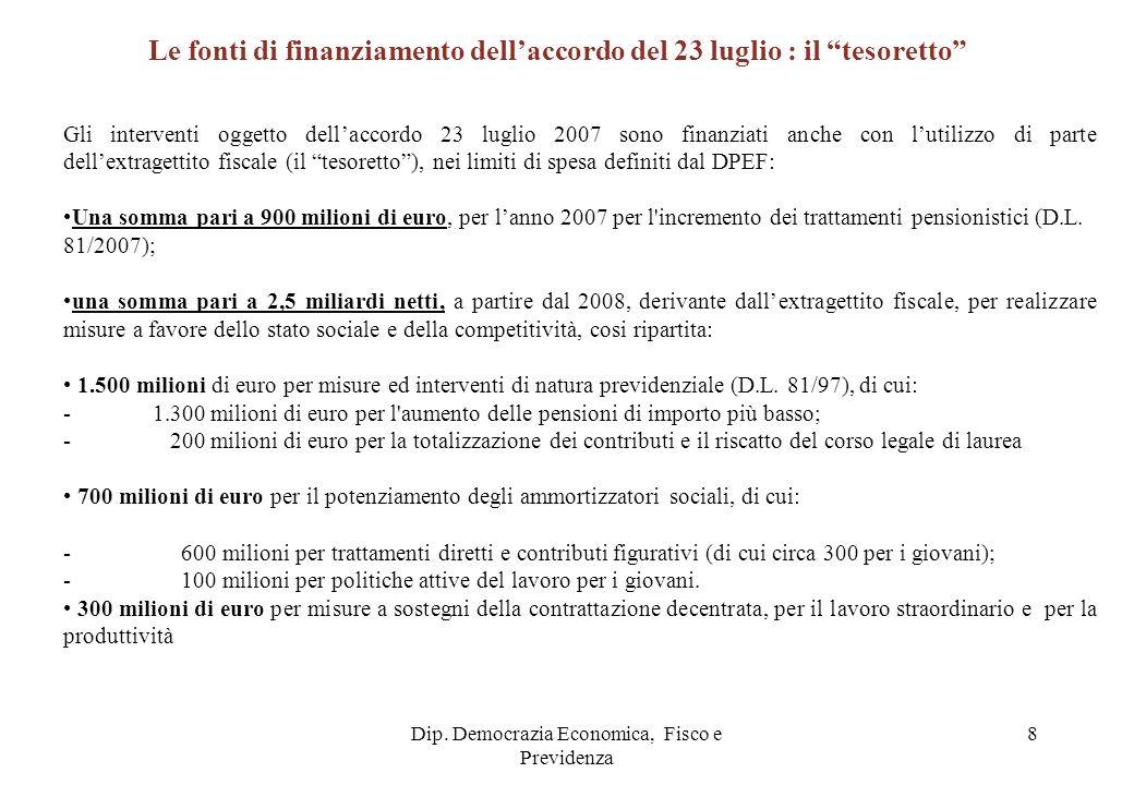 Dip. Democrazia Economica, Fisco e Previdenza 8 Gli interventi oggetto dellaccordo 23 luglio 2007 sono finanziati anche con lutilizzo di parte dellext