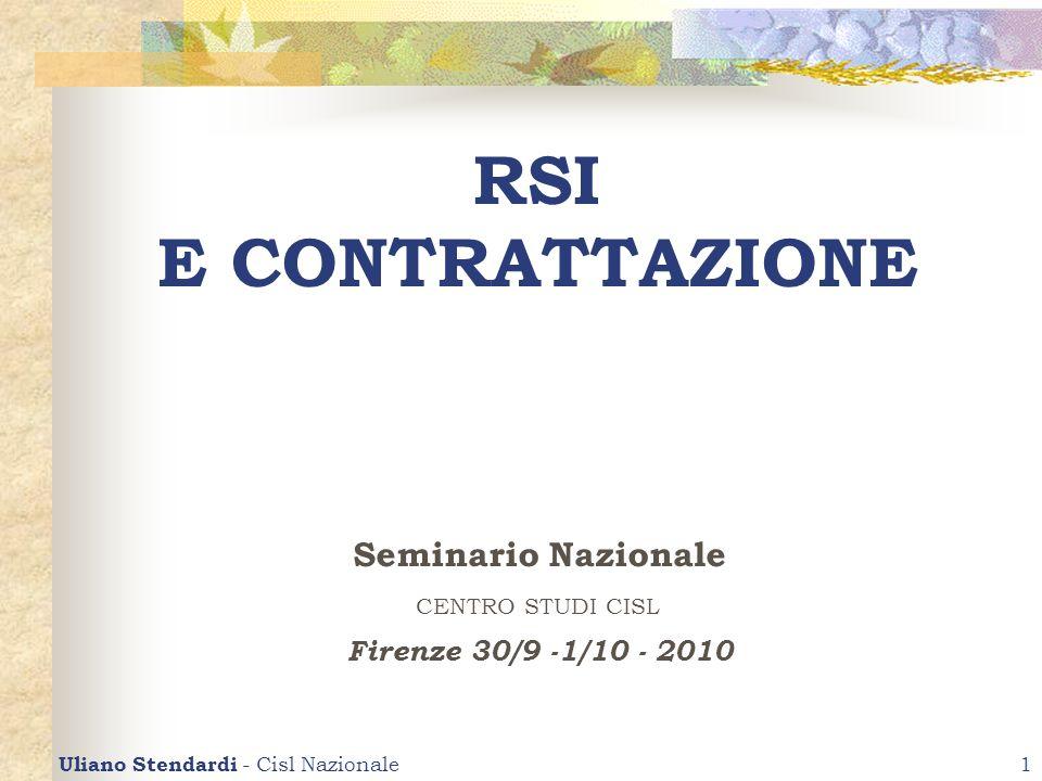 Uliano Stendardi - Cisl Nazionale1 RSI E CONTRATTAZIONE Seminario Nazionale CENTRO STUDI CISL Firenze 30/9 -1/10 - 2010