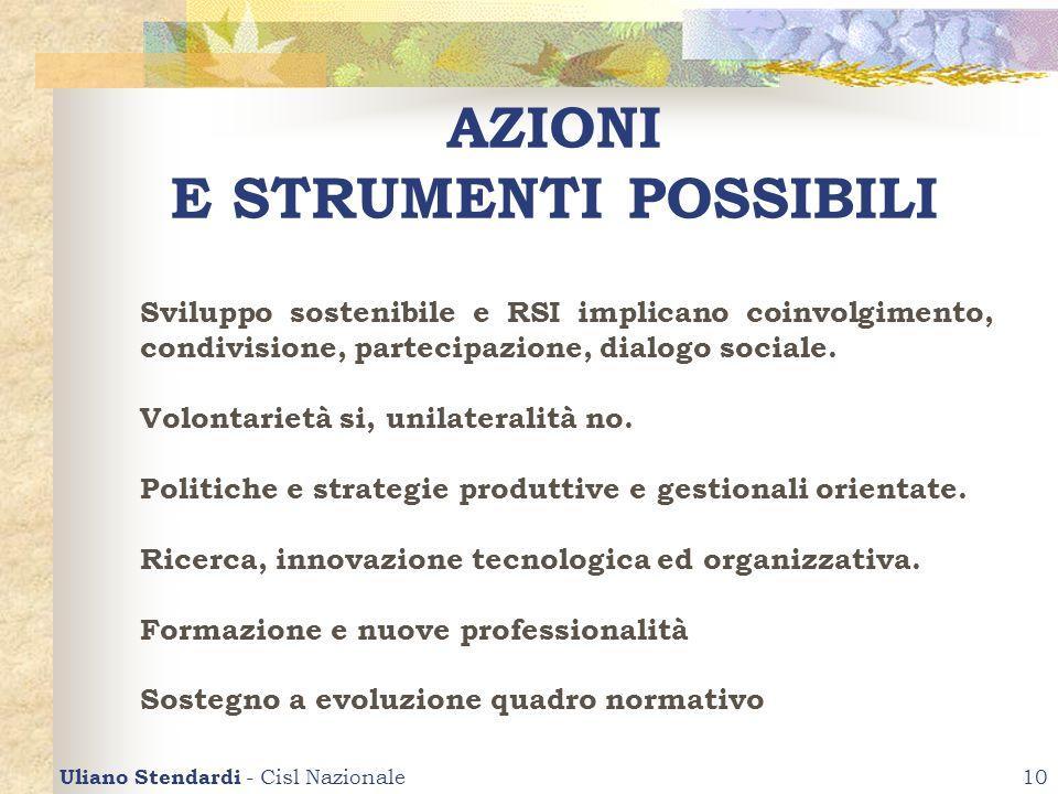 Uliano Stendardi - Cisl Nazionale10 AZIONI E STRUMENTI POSSIBILI Sviluppo sostenibile e RSI implicano coinvolgimento, condivisione, partecipazione, di