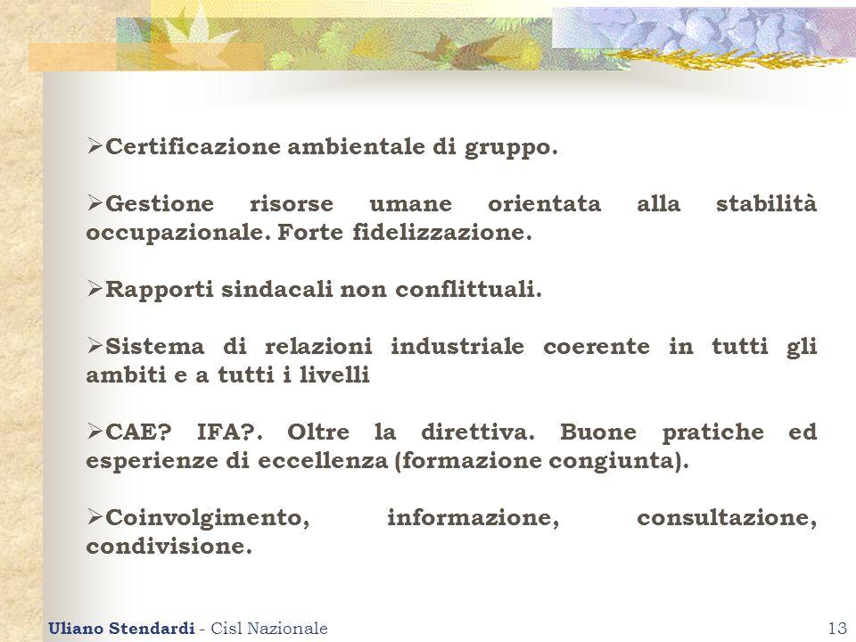 Uliano Stendardi - Cisl Nazionale13 Certificazione ambientale di gruppo. Gestione risorse umane orientata alla stabilità occupazionale. Forte fidelizz