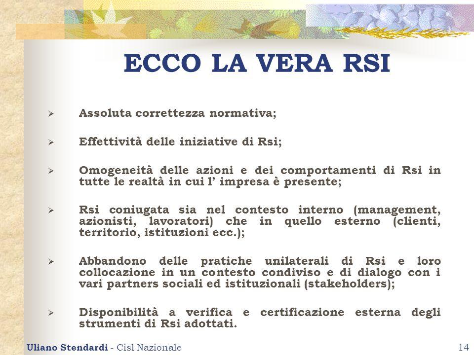 Uliano Stendardi - Cisl Nazionale14 ECCO LA VERA RSI Assoluta correttezza normativa; Effettività delle iniziative di Rsi; Omogeneità delle azioni e de