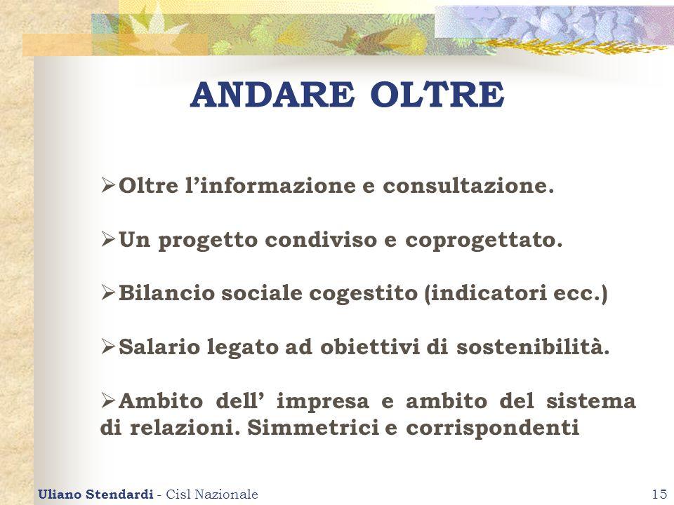 Uliano Stendardi - Cisl Nazionale15 ANDARE OLTRE Oltre linformazione e consultazione. Un progetto condiviso e coprogettato. Bilancio sociale cogestito