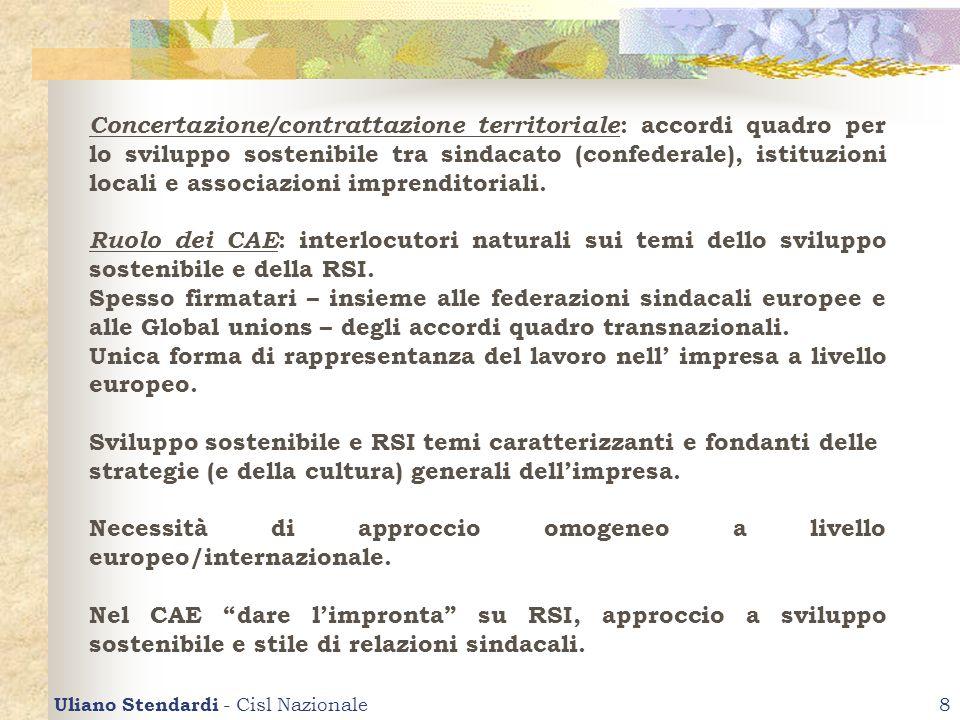 Uliano Stendardi - Cisl Nazionale8 Concertazione/contrattazione territoriale : accordi quadro per lo sviluppo sostenibile tra sindacato (confederale),