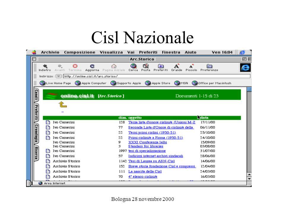 Bologna 28 novembre 2000 Cisl Nazionale