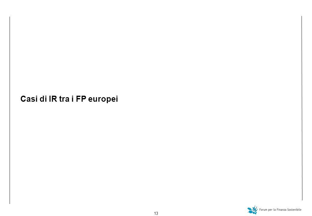 13 Casi di IR tra i FP europei