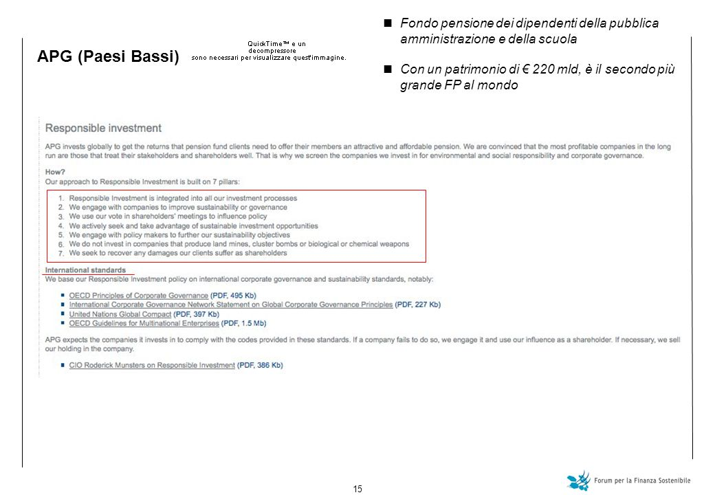 15 APG (Paesi Bassi) Fondo pensione dei dipendenti della pubblica amministrazione e della scuola Con un patrimonio di 220 mld, è il secondo più grande FP al mondo
