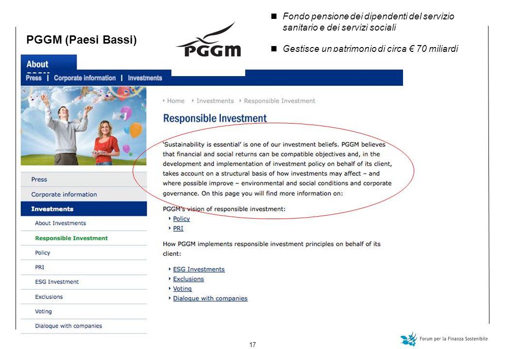 17 PGGM (Paesi Bassi) Fondo pensione dei dipendenti del servizio sanitario e dei servizi sociali Gestisce un patrimonio di circa 70 miliardi
