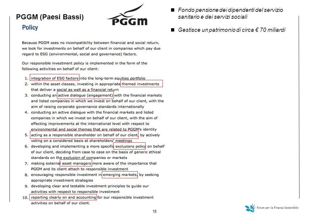 18 PGGM (Paesi Bassi) Fondo pensione dei dipendenti del servizio sanitario e dei servizi sociali Gestisce un patrimonio di circa 70 miliardi