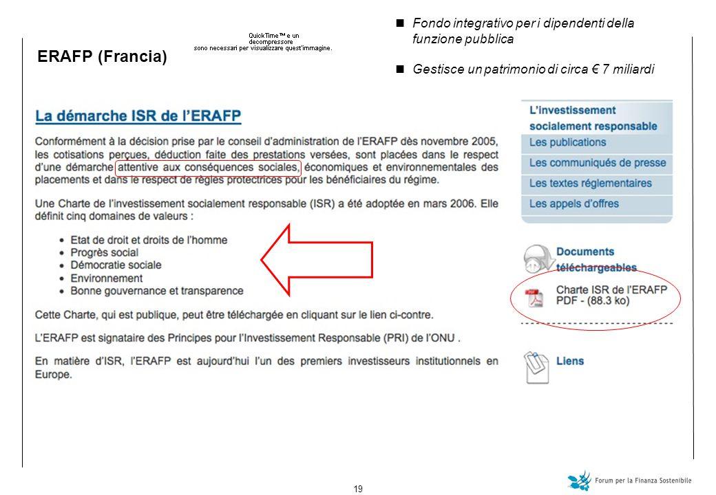 19 ERAFP (Francia) Fondo integrativo per i dipendenti della funzione pubblica Gestisce un patrimonio di circa 7 miliardi