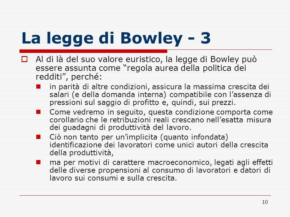 10 La legge di Bowley - 3 Al di là del suo valore euristico, la legge di Bowley può essere assunta come regola aurea della politica dei redditi, perch