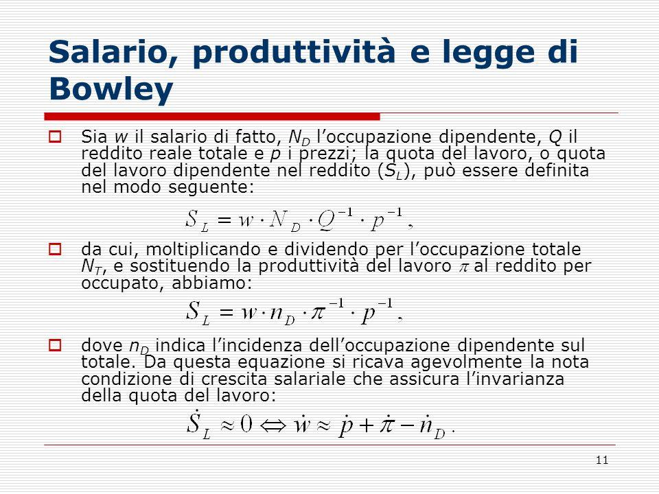 11 Salario, produttività e legge di Bowley Sia w il salario di fatto, N D loccupazione dipendente, Q il reddito reale totale e p i prezzi; la quota de