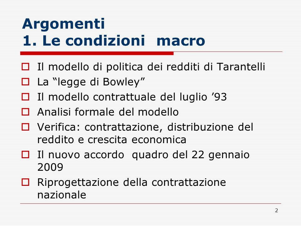 2 Argomenti 1. Le condizioni macro Il modello di politica dei redditi di Tarantelli La legge di Bowley Il modello contrattuale del luglio 93 Analisi f