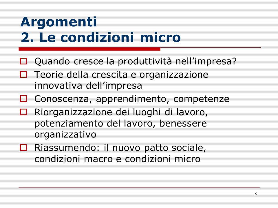 3 Argomenti 2. Le condizioni micro Quando cresce la produttività nellimpresa? Teorie della crescita e organizzazione innovativa dellimpresa Conoscenza