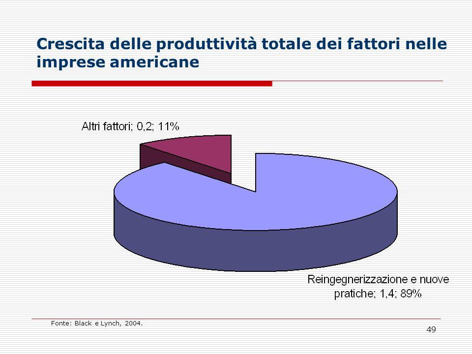 49 Crescita delle produttività totale dei fattori nelle imprese americane Fonte: Black e Lynch, 2004.
