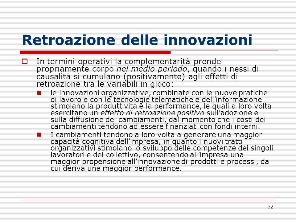 62 Retroazione delle innovazioni In termini operativi la complementarità prende propriamente corpo nel medio periodo, quando i nessi di causalità si c