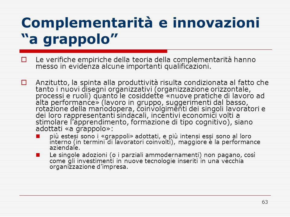63 Complementarità e innovazioni a grappolo Le verifiche empiriche della teoria della complementarità hanno messo in evidenza alcune importanti qualif
