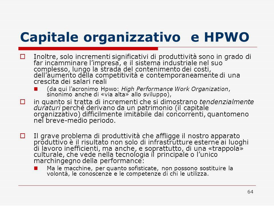 64 Capitale organizzativo e HPWO Inoltre, solo incrementi significativi di produttività sono in grado di far incamminare limpresa, e il sistema indust