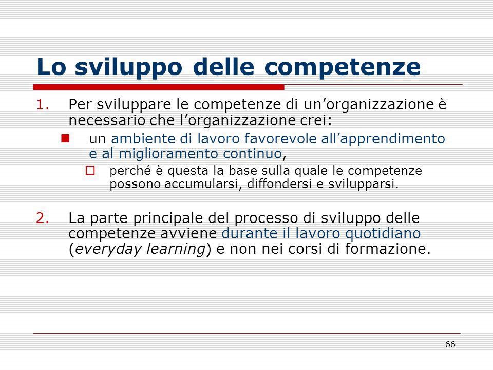 66 Lo sviluppo delle competenze 1.Per sviluppare le competenze di unorganizzazione è necessario che lorganizzazione crei: un ambiente di lavoro favore