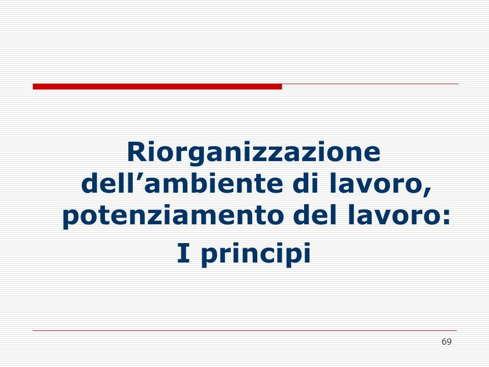 69 Riorganizzazione dellambiente di lavoro, potenziamento del lavoro: I principi